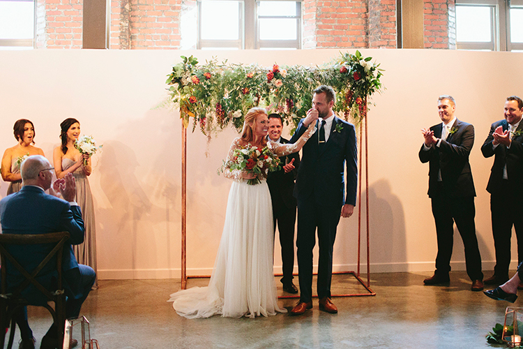metallic wedding ceremonies - http://ruffledblog.com/sweet-botanical-southern-wedding-with-metallic-accents