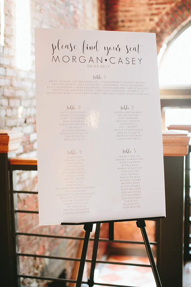 wedding seating charts - https://ruffledblog.com/sweet-botanical-southern-wedding-with-metallic-accents