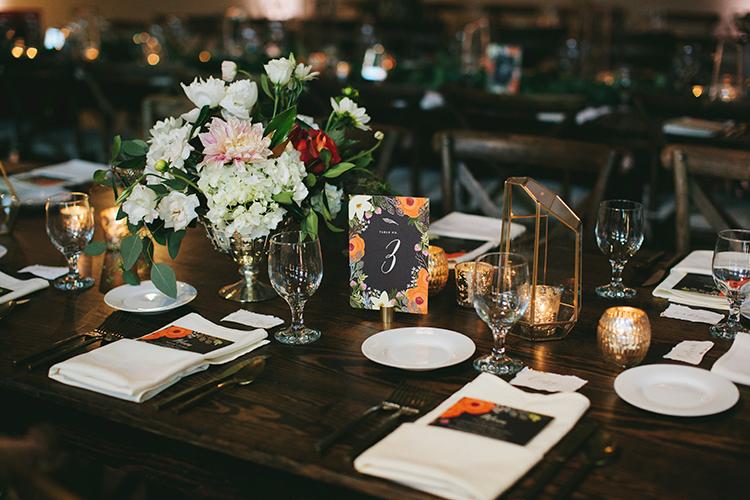 romantic wedding tables - http://ruffledblog.com/sweet-botanical-southern-wedding-with-metallic-accents
