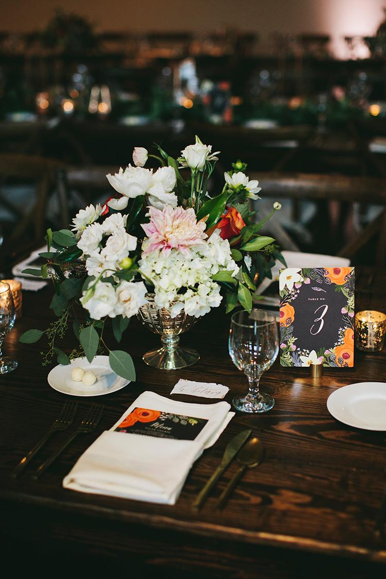 romantic floral arrangements for modern weddings - http://ruffledblog.com/sweet-botanical-southern-wedding-with-metallic-accents