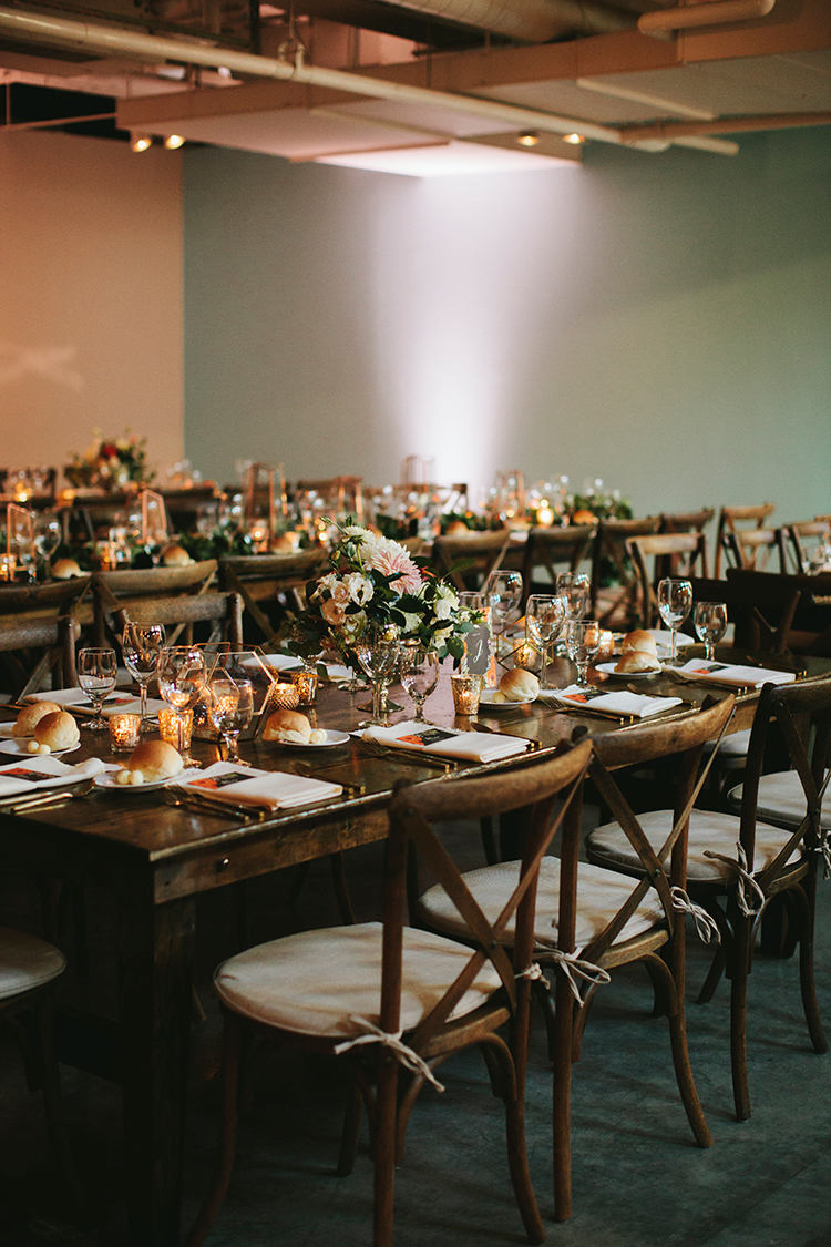 industrial modern wedding receptions - https://ruffledblog.com/sweet-botanical-southern-wedding-with-metallic-accents