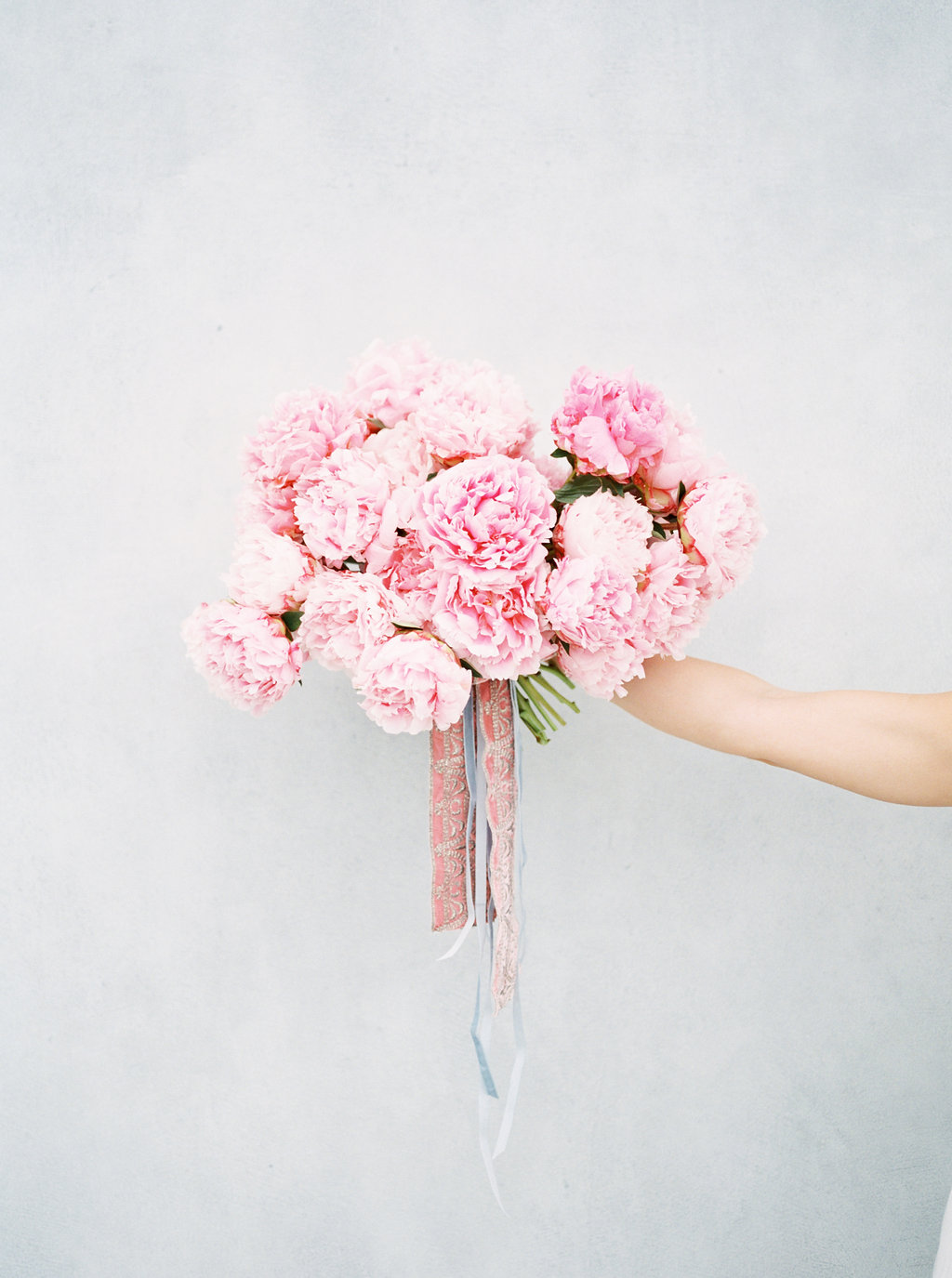 pink peony bouquets - photo by Awake Photography https://ruffledblog.com/sweet-peony-bridal-inspiration