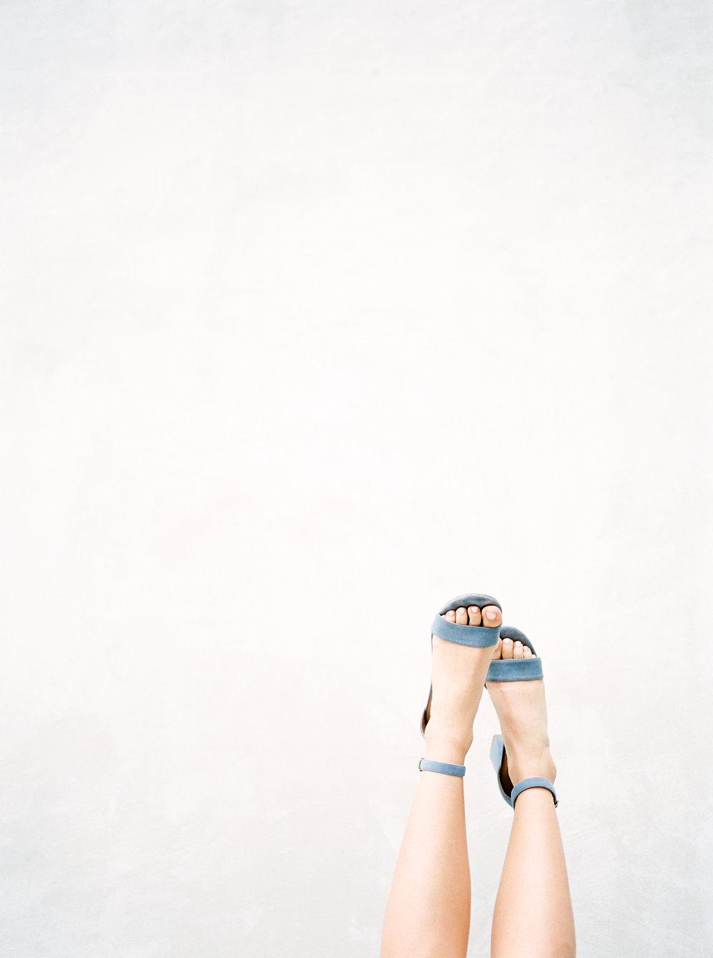 blue wedding shoes - photo by Awake Photography http://ruffledblog.com/sweet-peony-bridal-inspiration