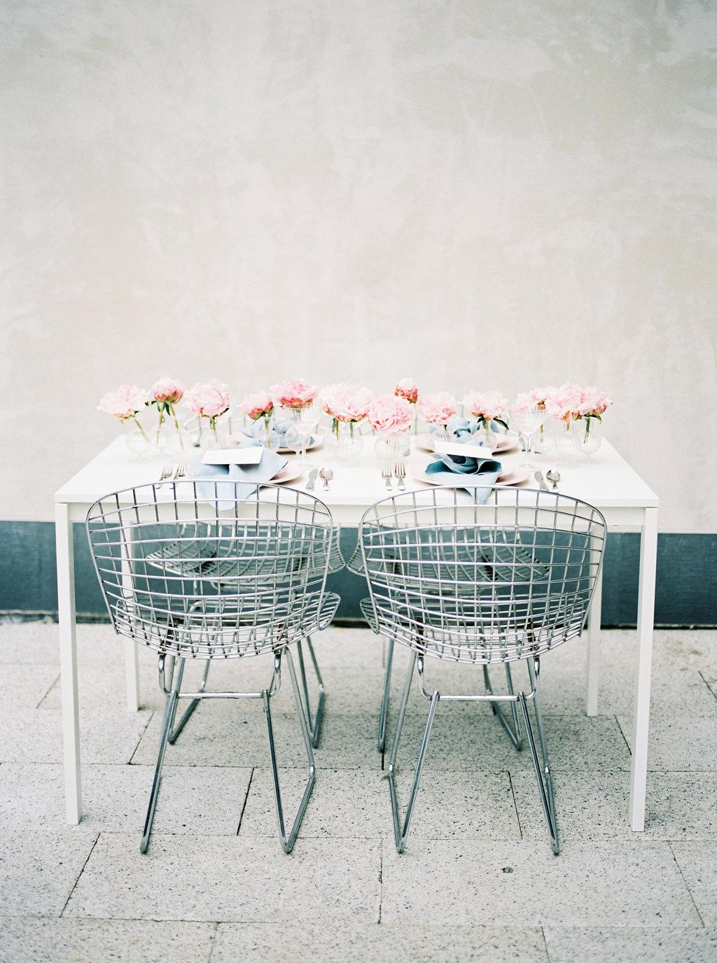 modern reception tables - photo by Awake Photography http://ruffledblog.com/sweet-peony-bridal-inspiration