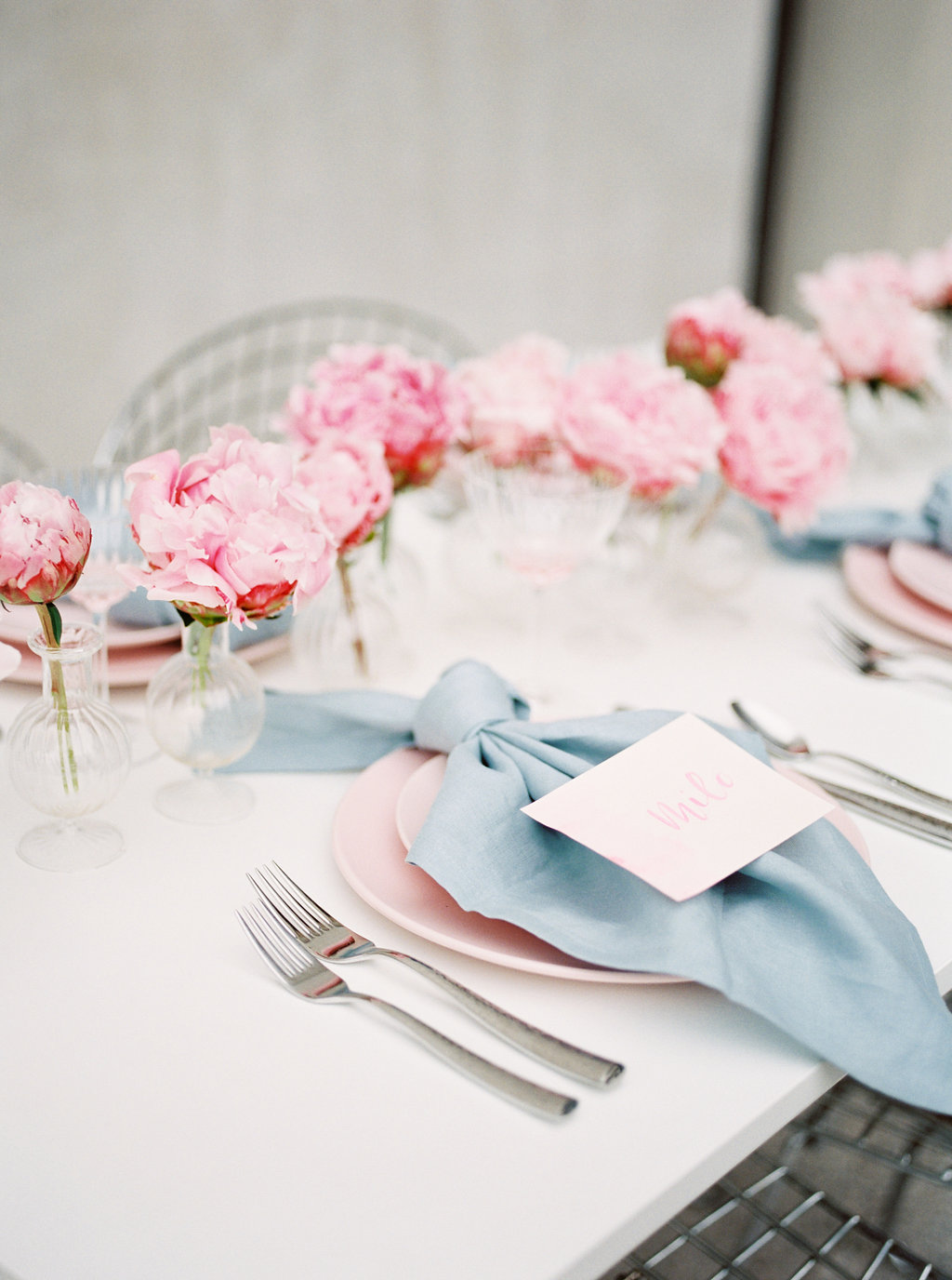 pink and blue weddings - photo by Awake Photography http://ruffledblog.com/sweet-peony-bridal-inspiration