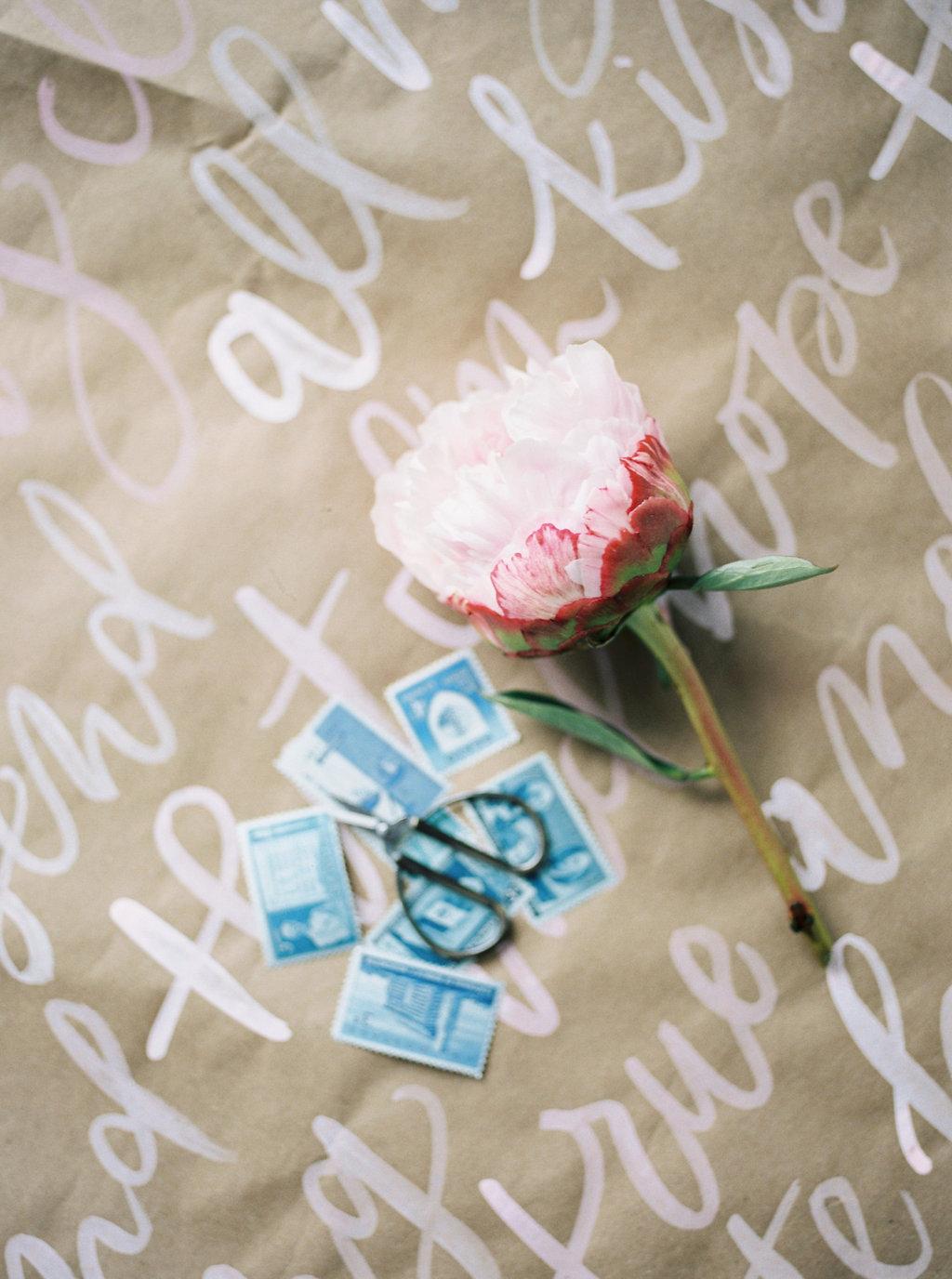 vintage wedding stamps - photo by Awake Photography http://ruffledblog.com/sweet-peony-bridal-inspiration