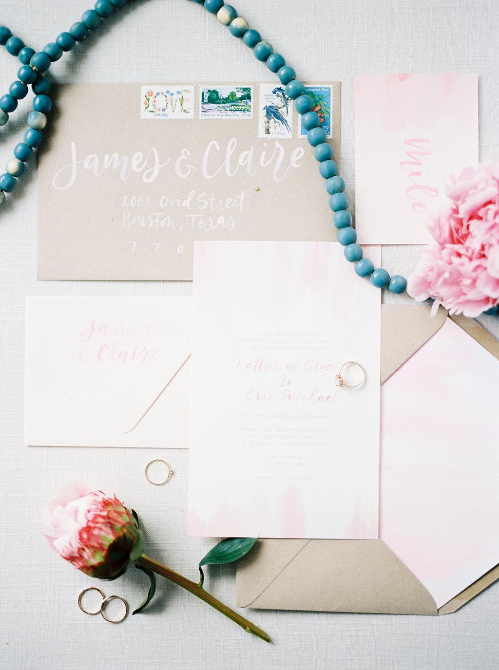 wedding invitations - photo by Awake Photography https://ruffledblog.com/sweet-peony-bridal-inspiration