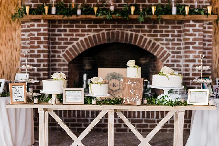 wedding dessert tables - https://ruffledblog.com/swoon-worthy-charleston-wedding-with-spanish-moss