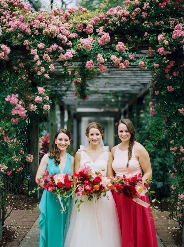 bright bridesmaid dresses - photo by nbarrett photography https://ruffledblog.com/texas-garden-wedding-at-dallas-arboretum
