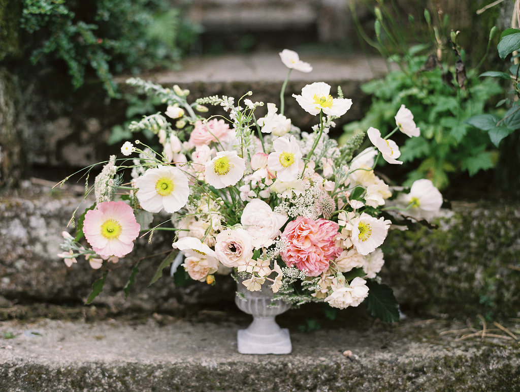 wedding flowers with anemones - photo by As Ever Photography http://ruffledblog.com/the-secret-garden-inspired-wedding-in-ireland