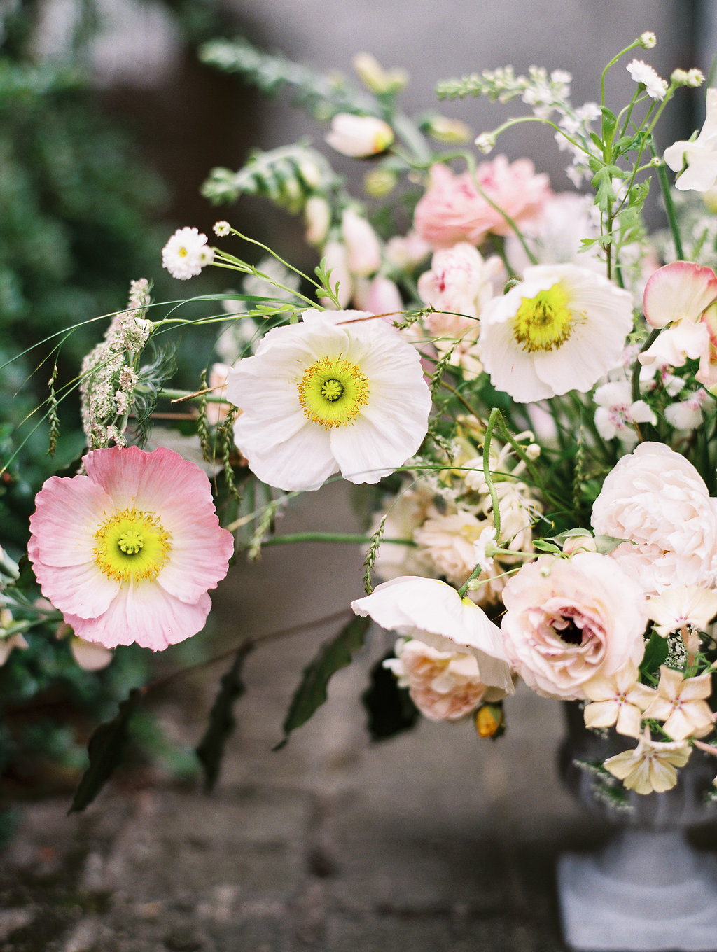 pink anemones with yellow centers - photo by As Ever Photography http://ruffledblog.com/the-secret-garden-inspired-wedding-in-ireland