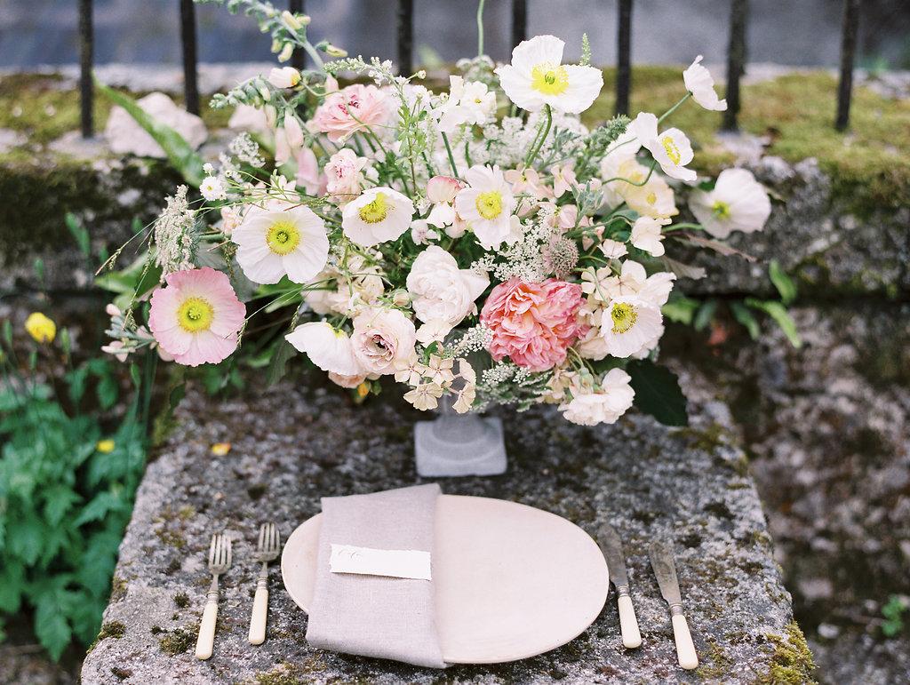 romantic wedding place settings - photo by As Ever Photography https://ruffledblog.com/the-secret-garden-inspired-wedding-in-ireland