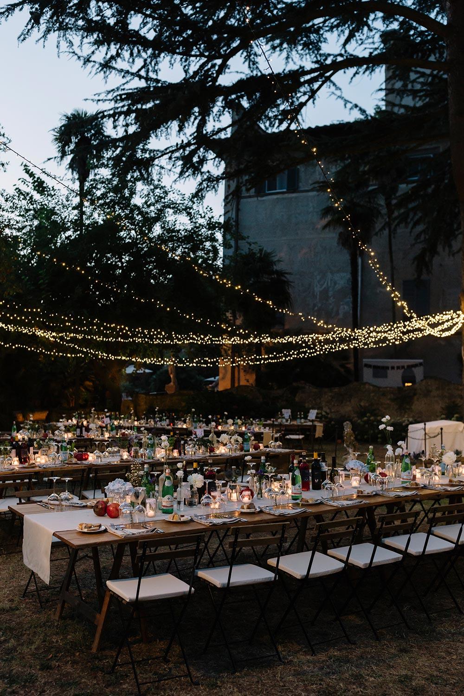 al fresco twinkle light wedding reception italian villa