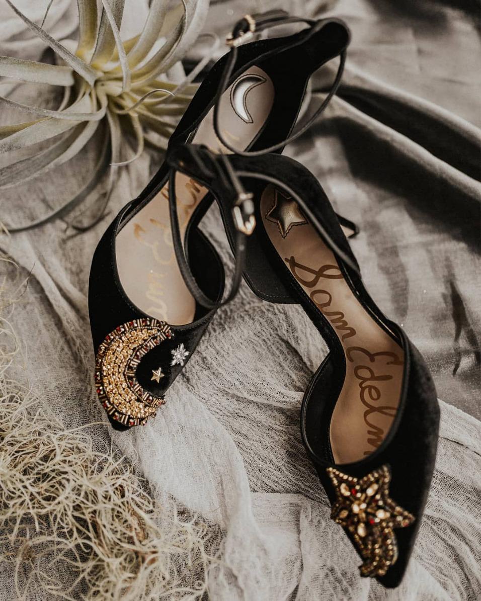 celestial black bridal shoes