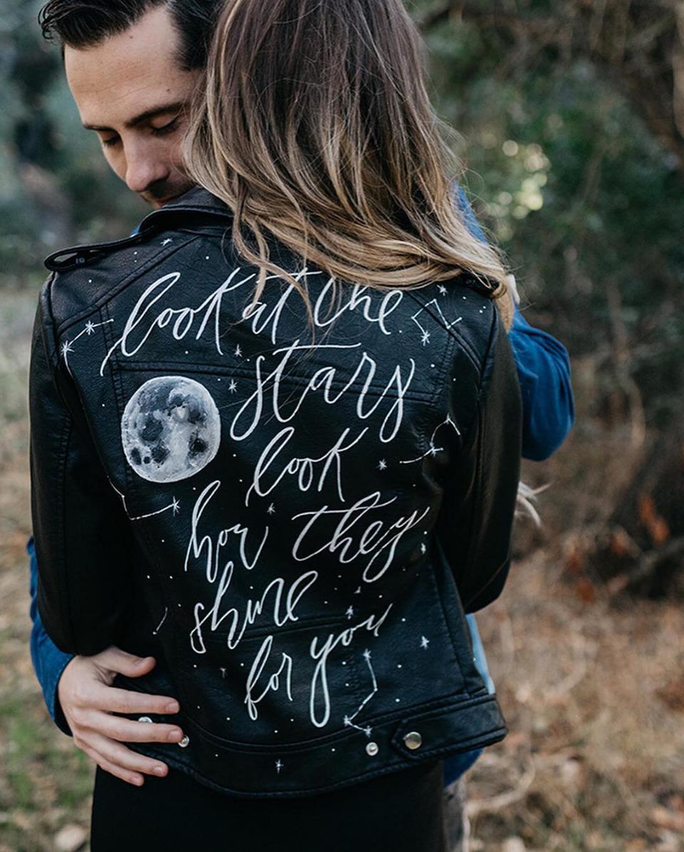 hand calligraphed black leather bridal jacket celestial wedding