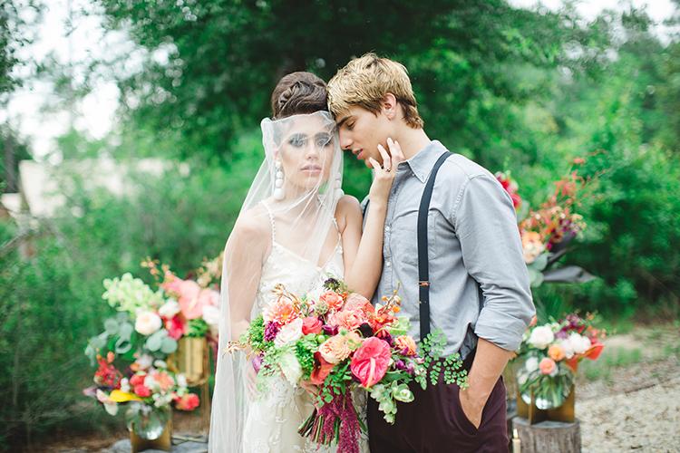 Tropical Glamping Wedding Inspiration with Moody Hues - https://ruffledblog.com/tropical-glamping-wedding-inspiration-with-moody-hues