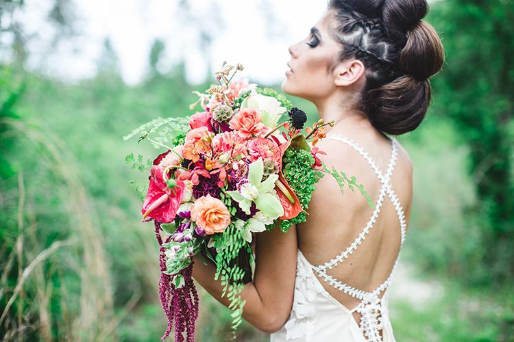 moody tropical bridal looks - https://ruffledblog.com/tropical-glamping-wedding-inspiration-with-moody-hues
