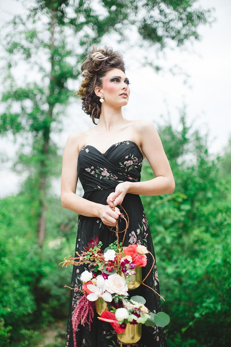 haute couture bridesmaid looks - https://ruffledblog.com/tropical-glamping-wedding-inspiration-with-moody-hues