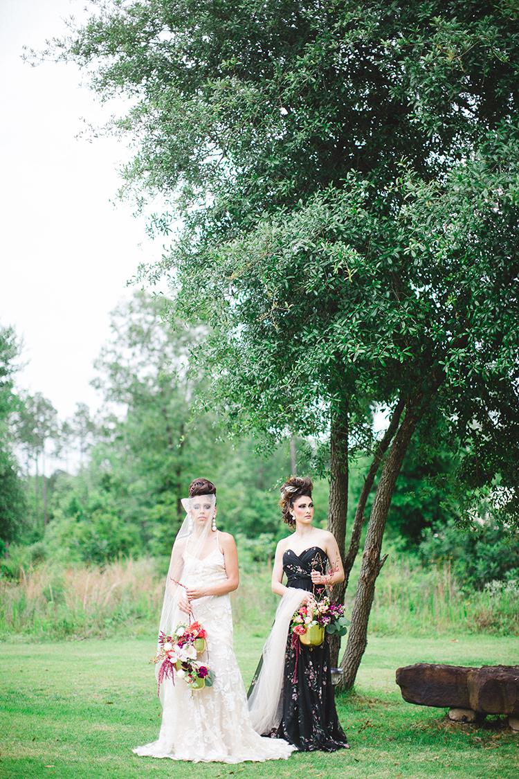 couture bridal style - https://ruffledblog.com/tropical-glamping-wedding-inspiration-with-moody-hues