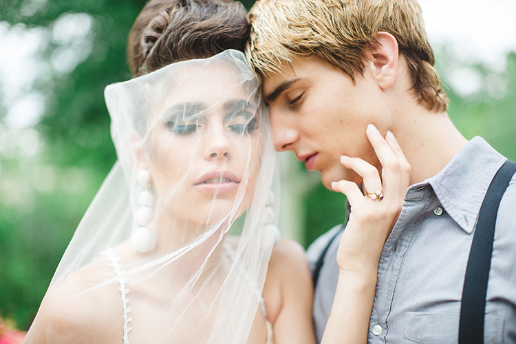 dramatic bridal looks - https://ruffledblog.com/tropical-glamping-wedding-inspiration-with-moody-hues