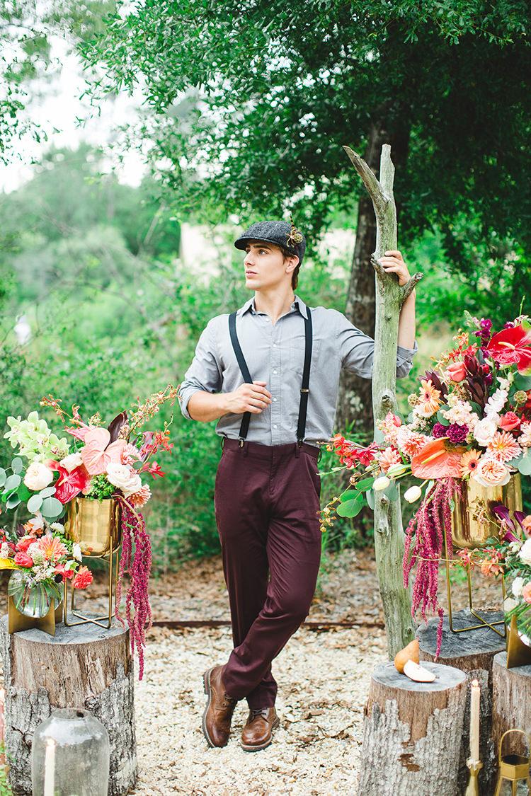 20s inspired groom looks - https://ruffledblog.com/tropical-glamping-wedding-inspiration-with-moody-hues