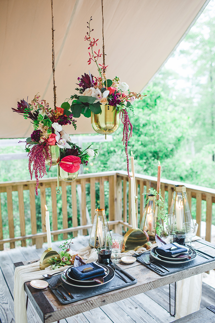 tropical bohemian wedding inspiration - https://ruffledblog.com/tropical-glamping-wedding-inspiration-with-moody-hues