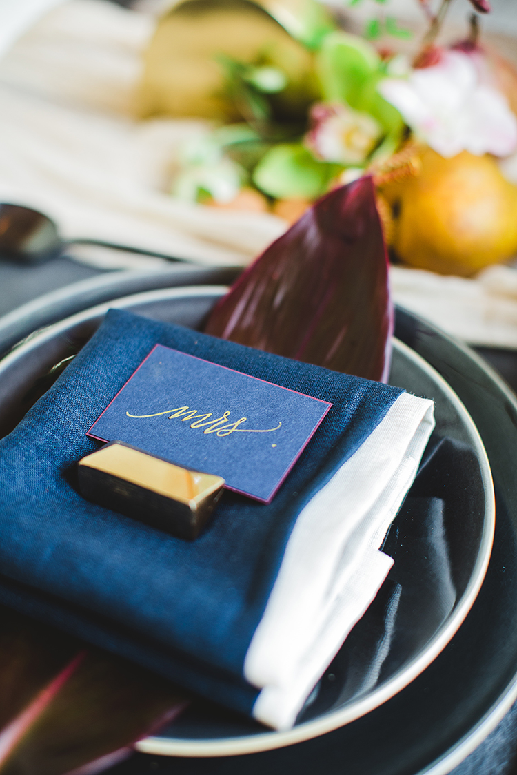 navy blue wedding ideas - https://ruffledblog.com/tropical-glamping-wedding-inspiration-with-moody-hues