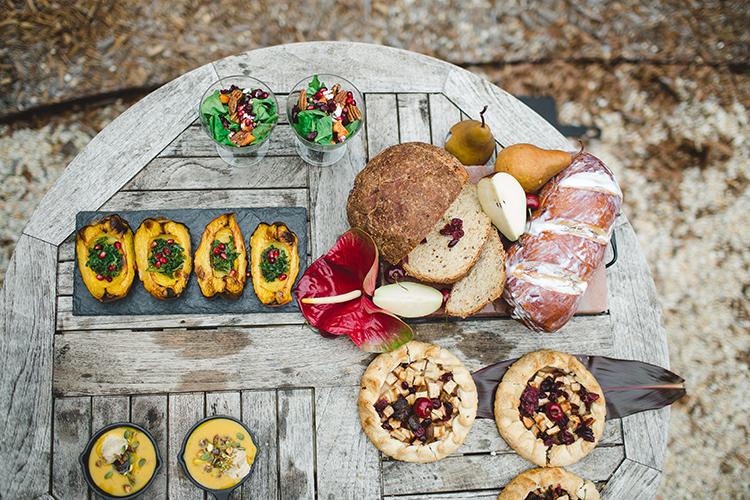 farm to table wedding food - http://ruffledblog.com/tropical-glamping-wedding-inspiration-with-moody-hues