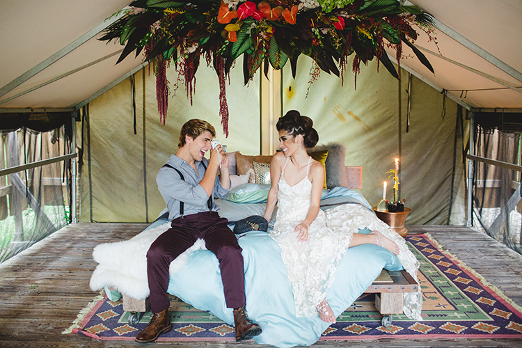boho wedding inspiration - http://ruffledblog.com/tropical-glamping-wedding-inspiration-with-moody-hues
