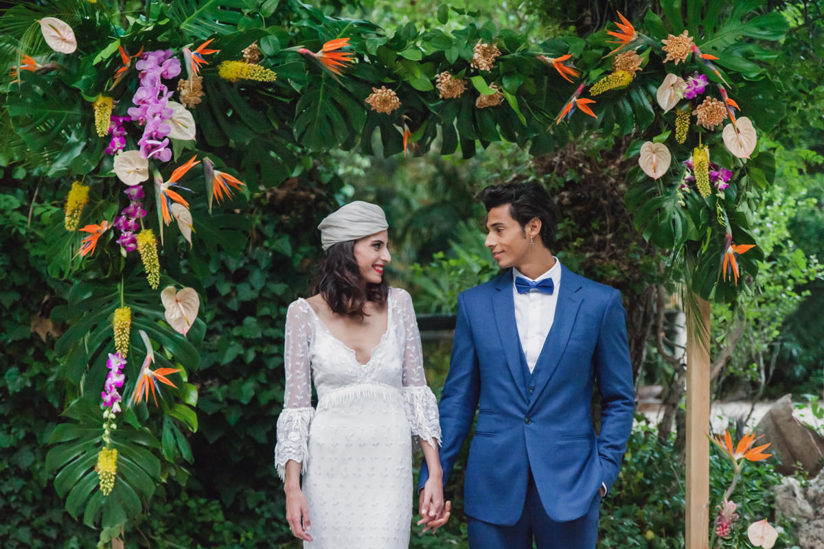 Tropical Spanish Wedding Inspiration with Philodendrons - photo by Sarah and Nora Photographers http://ruffledblog.com/tropical-spanish-wedding-inspiration-with-philodendrons