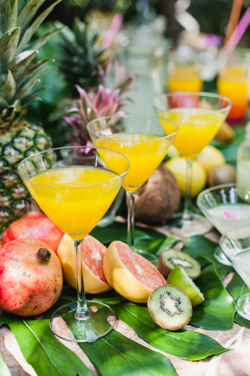 wedding cocktails - photo by Sarah and Nora Photographers https://ruffledblog.com/tropical-spanish-wedding-inspiration-with-philodendrons