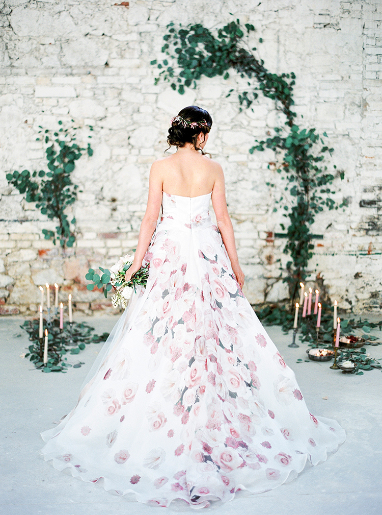 Tuscan Warehouse Wedding Inspiration with a Floral Bridal Gown - photo by Linda Nari Photography http://ruffledblog.com/tuscan-warehouse-wedding-inspiration-with-a-floral-bridal-gown