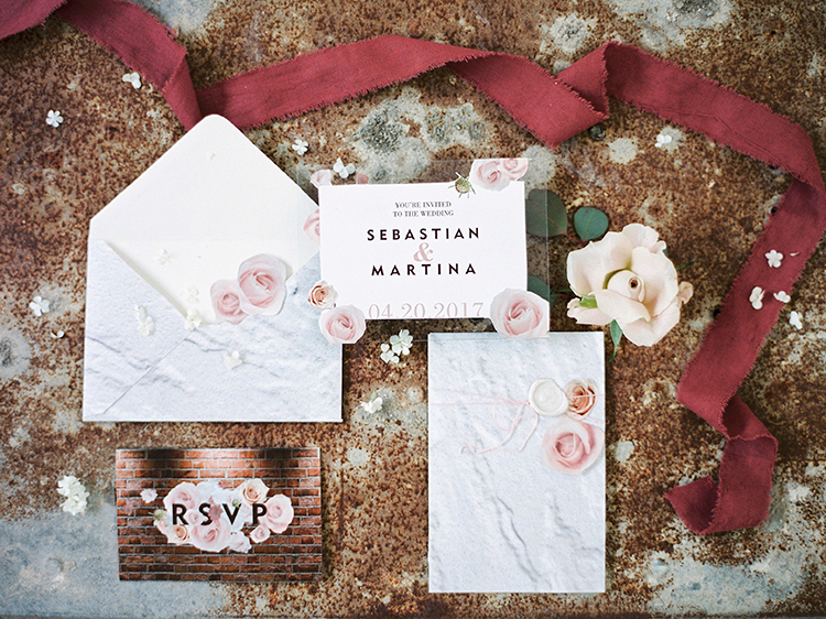 modern wedding invitations with bold font - photo by Linda Nari Photography http://ruffledblog.com/tuscan-warehouse-wedding-inspiration-with-a-floral-bridal-gown