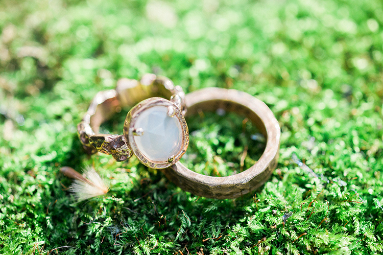 opal engagement rings - photo by Linda Nari Photography http://ruffledblog.com/tuscan-warehouse-wedding-inspiration-with-a-floral-bridal-gown