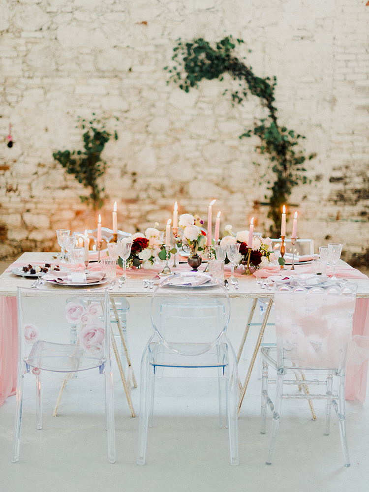 romantic wedding reception tables - photo by Linda Nari Photography http://ruffledblog.com/tuscan-warehouse-wedding-inspiration-with-a-floral-bridal-gown