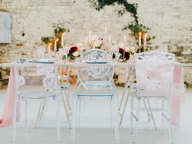 romantic wedding receptions - photo by Linda Nari Photography https://ruffledblog.com/tuscan-warehouse-wedding-inspiration-with-a-floral-bridal-gown
