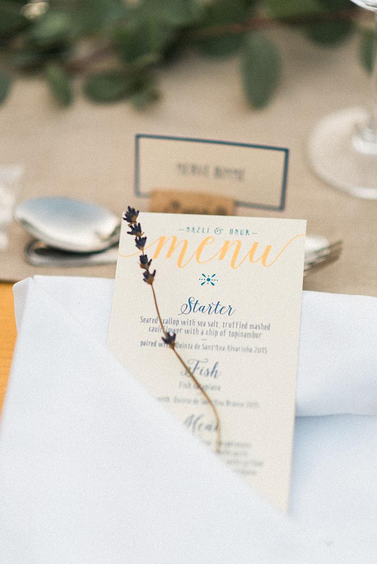 menu paper goods - photo by Adriana Morais https://ruffledblog.com/two-day-destination-wedding-celebration-in-portugal