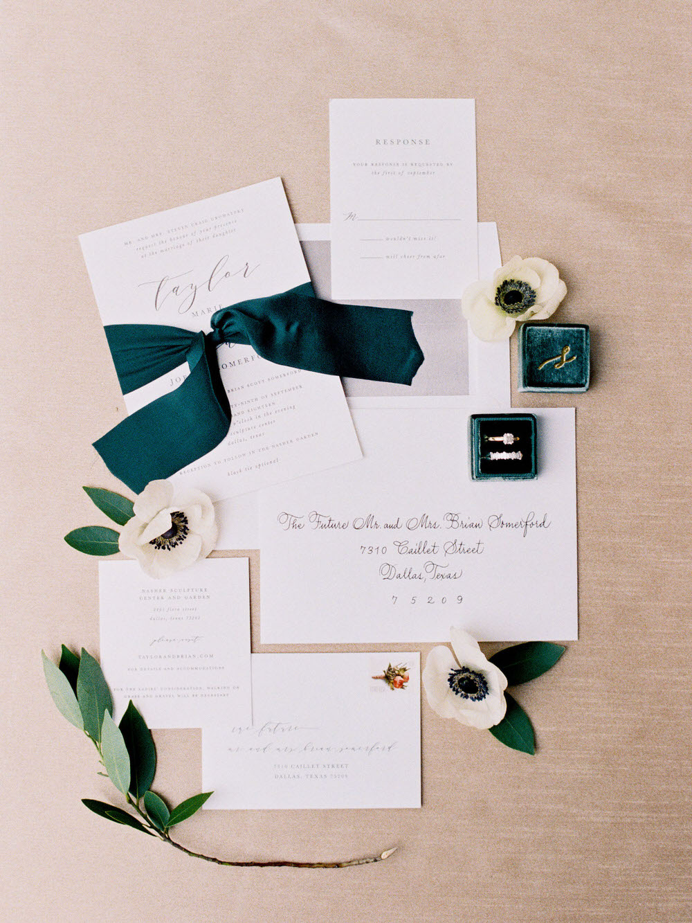elegant wedding invitation flatlay