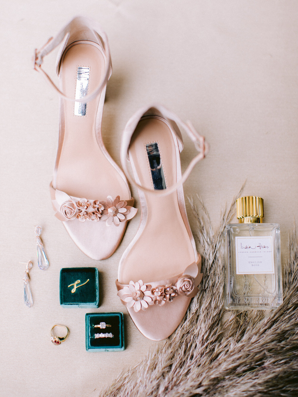 wedding detail flatlay with shoes