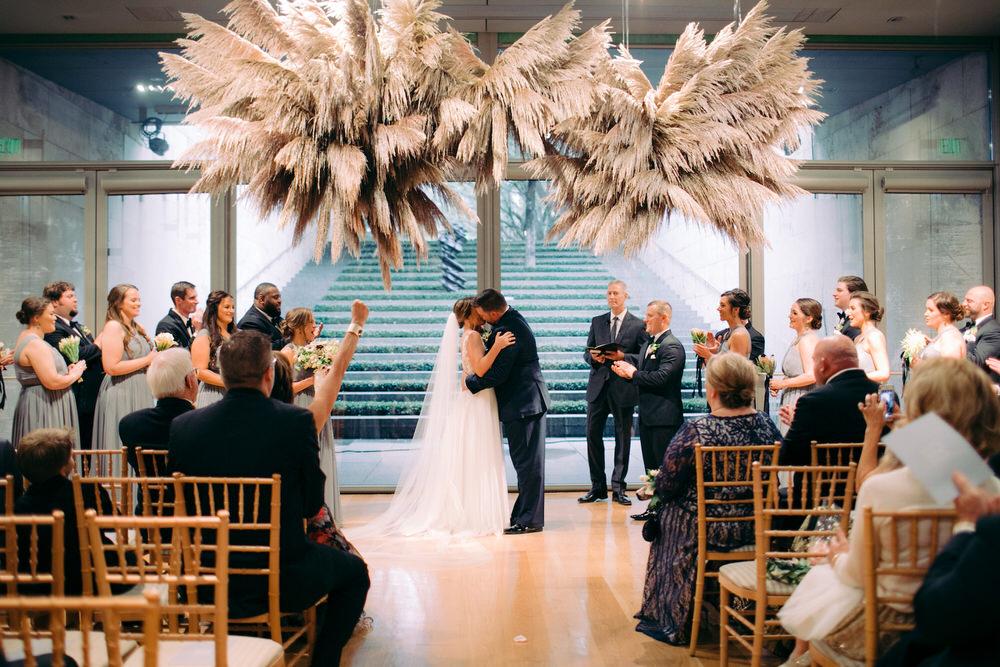 pampas grass wedding ceremony setup