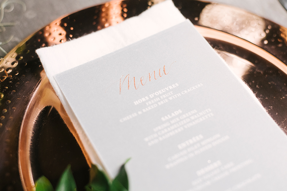 wedding paper goods - photo by Alicia King Photography http://ruffledblog.com/upstate-new-york-wedding-ideas-with-copper