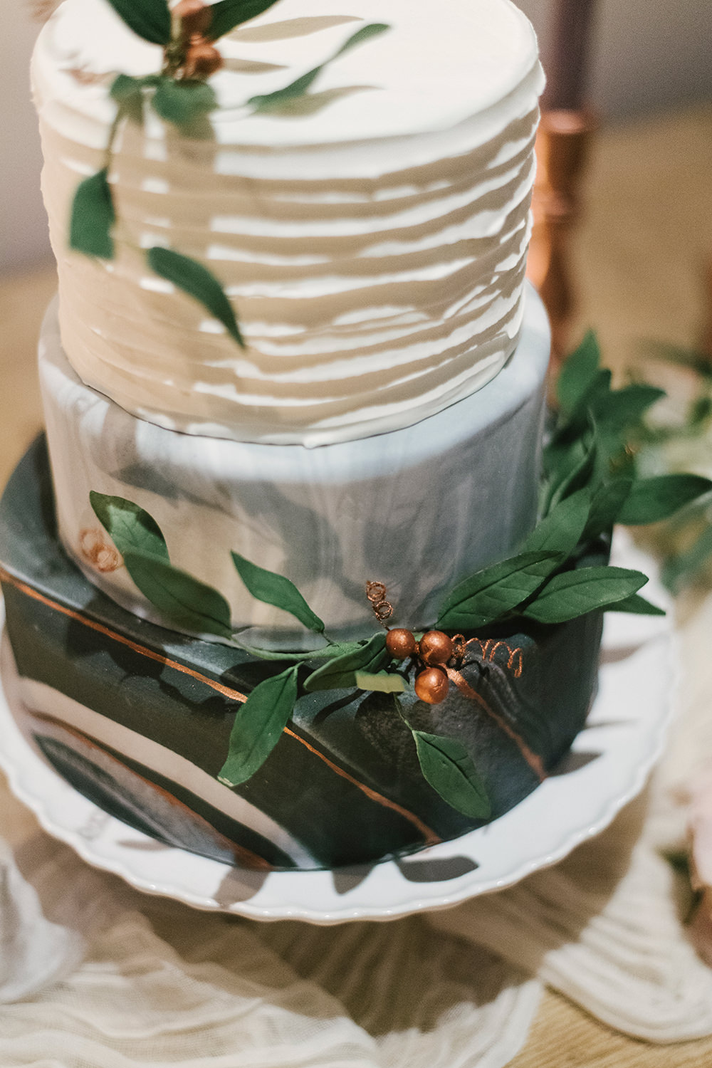 patterned wedding cakes - photo by Alicia King Photography http://ruffledblog.com/upstate-new-york-wedding-ideas-with-copper