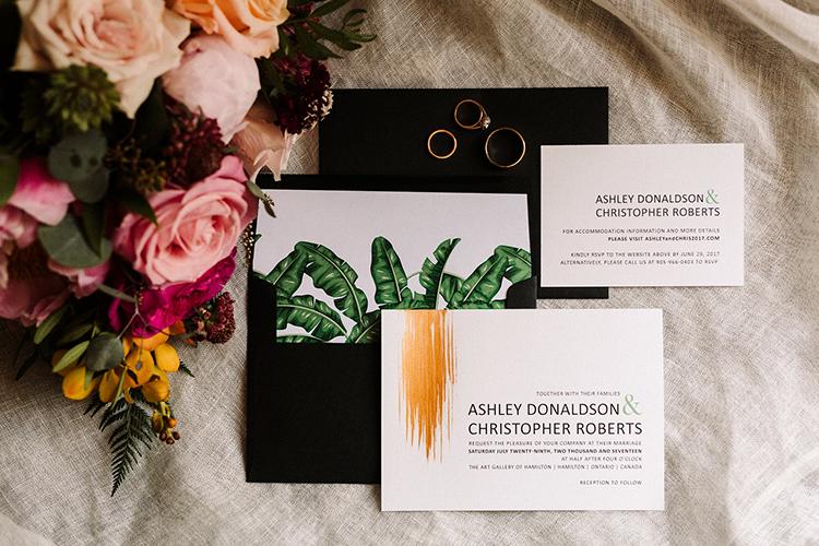 tropical inspired wedding invitations - https://ruffledblog.com/urban-chic-art-gallery-wedding-in-ontario