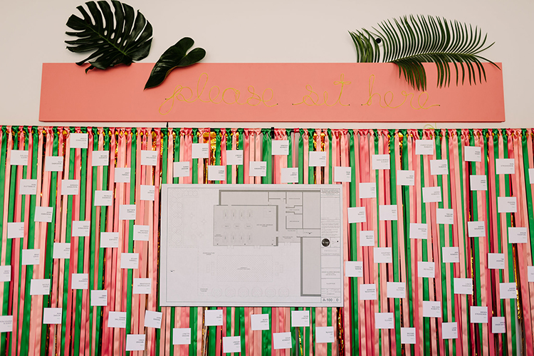 colorful and tropical wedding seating charts - https://ruffledblog.com/urban-chic-art-gallery-wedding-in-ontario