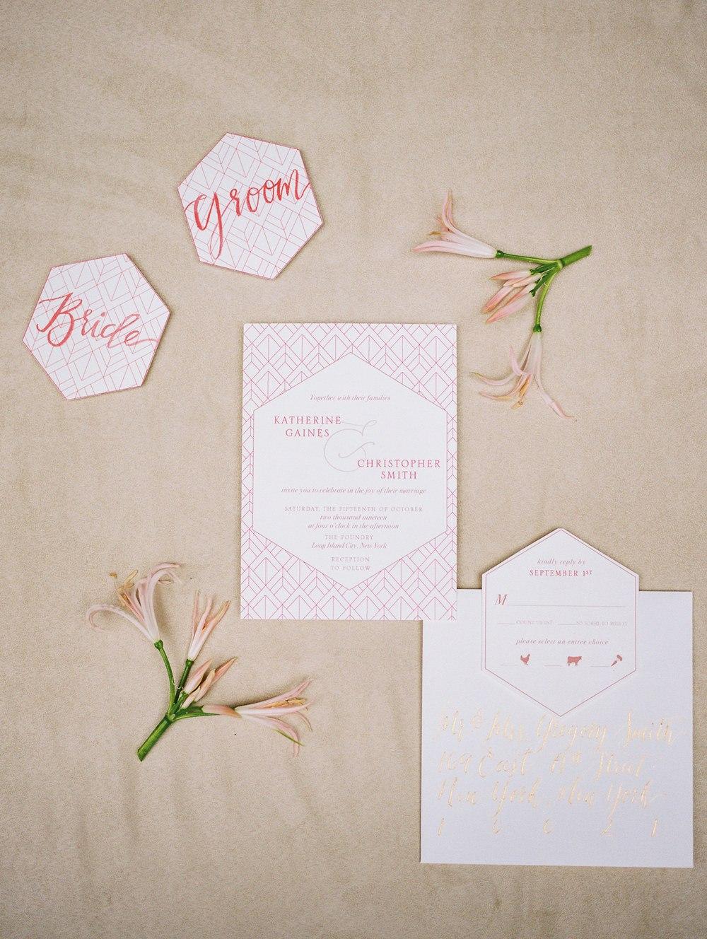 geometric pink wedding invitation suite