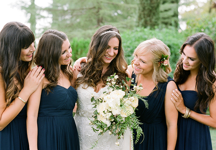 navy bridesmaid dresses - photo by Lacie Hansen http://ruffledblog.com/utterly-beautiful-california-wedding-planned-by-the-bride