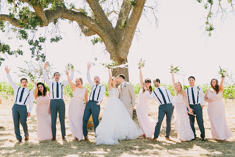 bridesmaids in light pink gowns - photo by Fondly Forever Photography https://ruffledblog.com/utterly-dreamy-destination-wedding-in-santa-ynez-valley