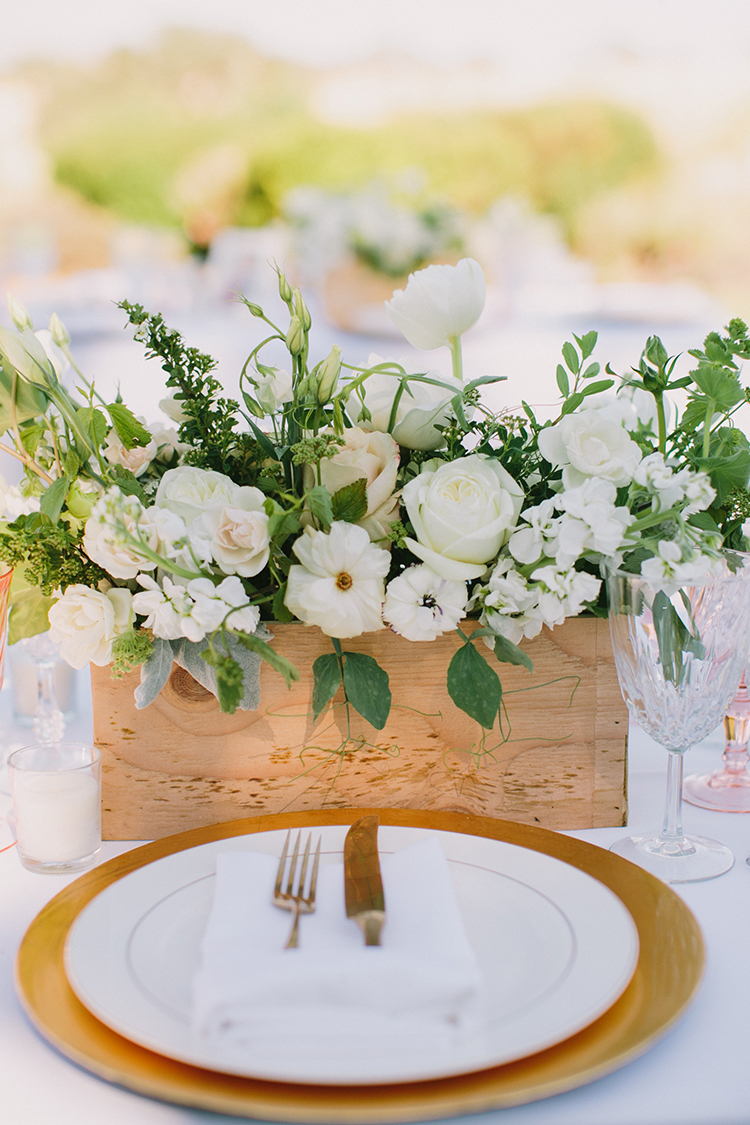 gold place settings - photo by Fondly Forever Photography http://ruffledblog.com/utterly-dreamy-destination-wedding-in-santa-ynez-valley