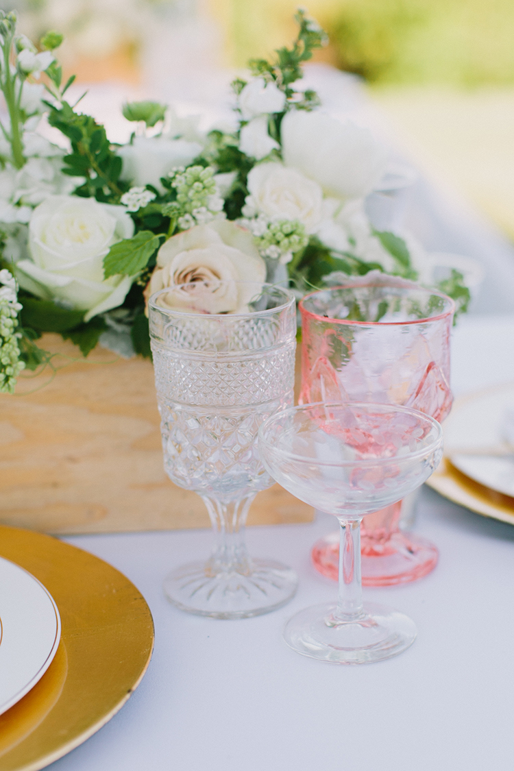 pink depression glass - photo by Fondly Forever Photography https://ruffledblog.com/utterly-dreamy-destination-wedding-in-santa-ynez-valley