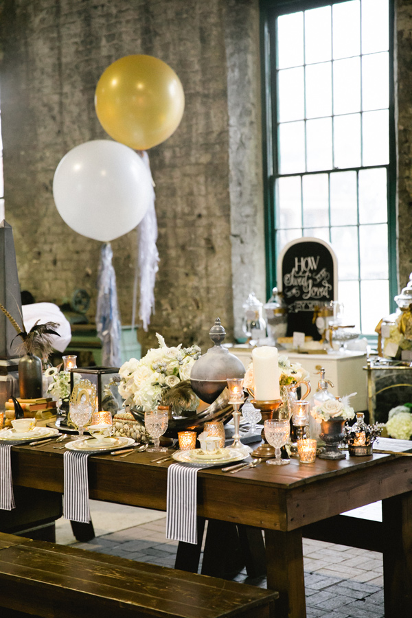 wedding tablescape with lots of mercury glass - Photo by Vanessa Velez
